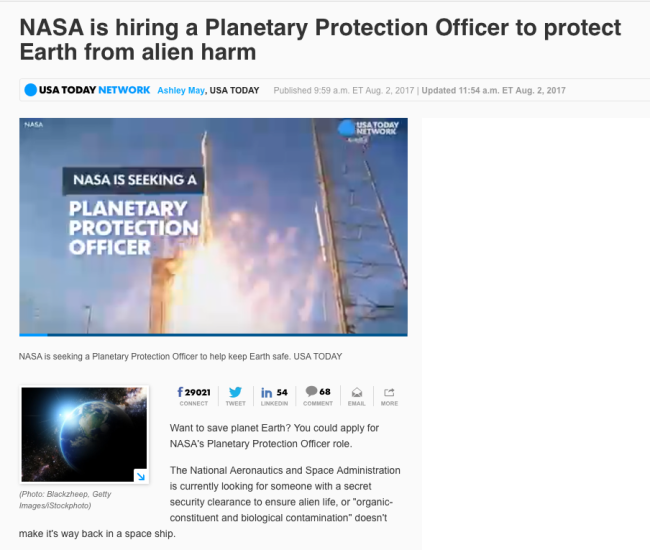 NASA is hiring a Planetary Protection Officer