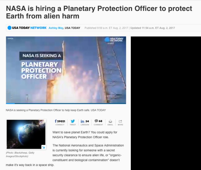 NASA is hiring a Planetary Protection Officer